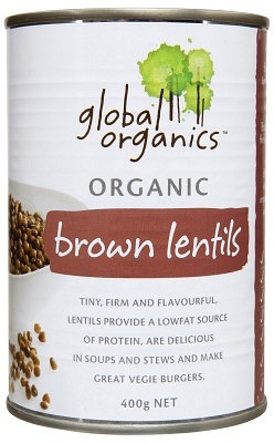 Global Organics Brown Lentils 400gm