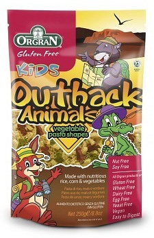 Orgran Kids Outback Animals Vegetable Pasta Shapes 250g