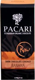 Pacari Organic Raw Drk Choc Covered Banana 57g