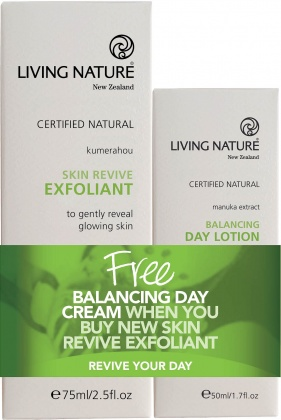 Living Nature Skin Revive Exfoliant 75ml + FREE Balancing Day Cream 50ml