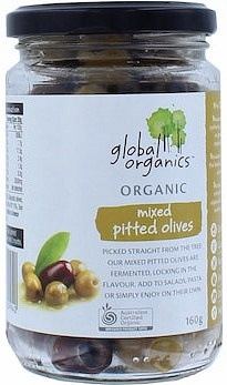 Global Organics Mixed Pitted Olives 160g