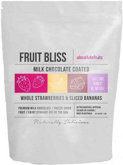 Absolutefruitz Fruit Bliss Milk Chocolate Coated Whole Strawberries & Sliced Bananas 110g
