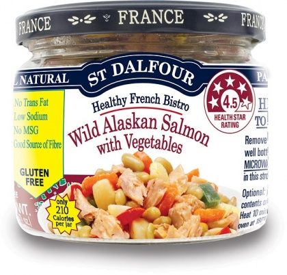 St Dalfour All Natural Ready to Eat Wild Pink Salmon with Vegetables Gluten Free in Glass 200g