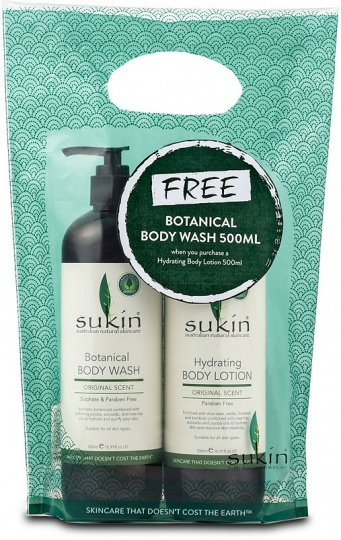 Sukin Hydrating Body Lotion 500ml + FREE Botanical Body Wash Grab & Go Pk