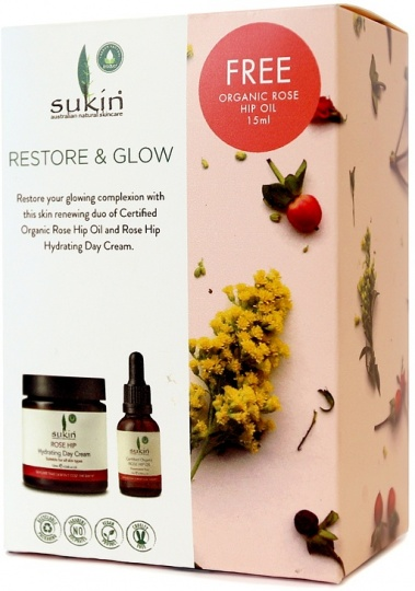 Sukin Restore & Glow (Rosehip Hydrating Day Cream 120ml+Free Rosehip Oil 15ml)GWP