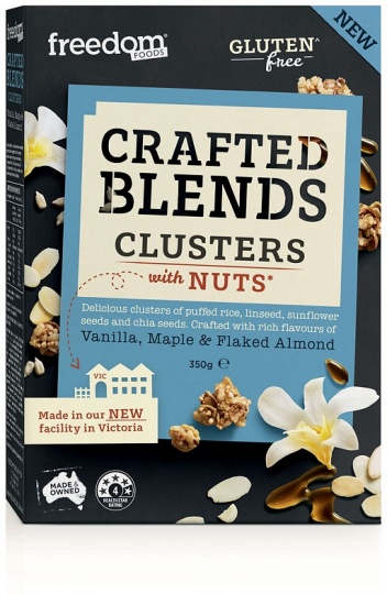 Freedom Foods Crafted Blends Clusters Vanilla, Maple & Flaked Almond Cereal 350g