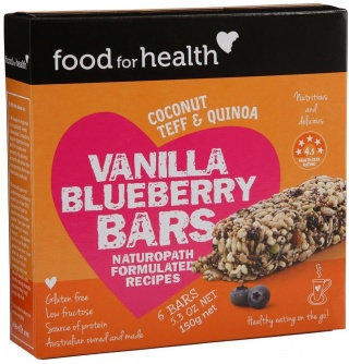 Food For Health Vanilla Blueberry Bars G/F (6Bars) 150g