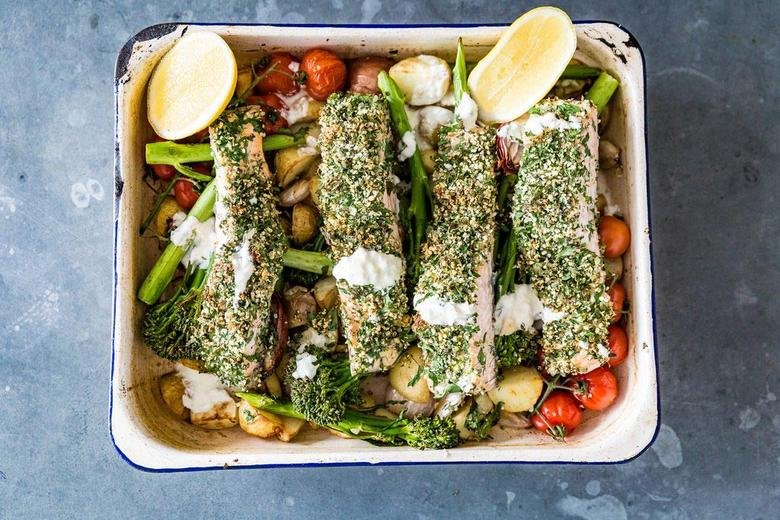hemp and herb baked salmon