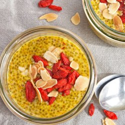 Saffron and Mango Chia Pudding with Almonds and Goji