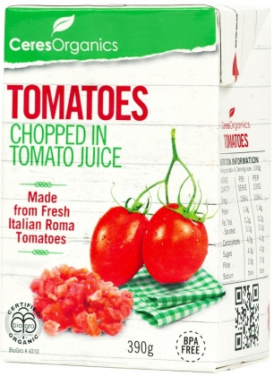 Ceres Organics Bio Tomatoes Chopped in Tomato Juice Tetra 390g