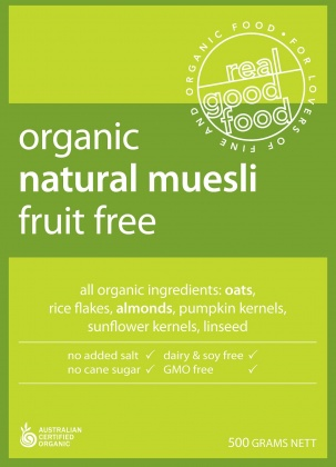 Real Good Foods Organic Fruit Free Muesli Bag 500g