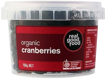 Real Good Foods Organic Cranberries Dried 150g