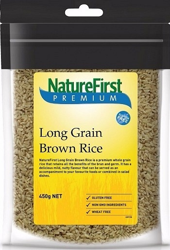 Natures First Rice Brown Long Grain 450g