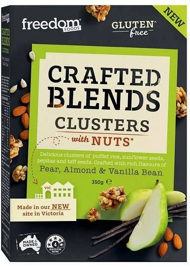 Freedom Foods Crafted Blends Clusters Almond & Vanilla Bean Cereal 350g