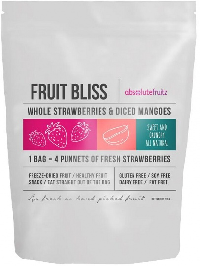 Absolutefruitz Fruit Bliss Whole Strawberries & Diced Mangoes 105g