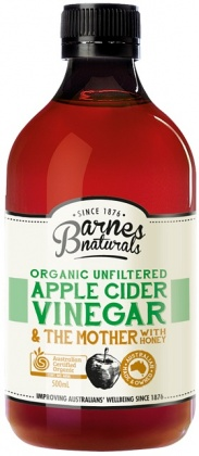 Barnes Naturals Organic Apple Cider Vinegar & Honey & The Mother Glass 500ml