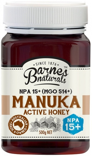 Barnes Naturals Active Manuka Honey NPA 15+ (MGO514+) 500g Jar