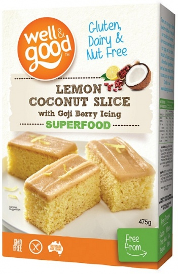 Well And Good Lemon Coconut Slice with Goji Berry Icing  475g