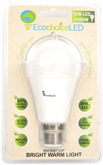 EcochoiceLED 12W Bayonet Cap Globe Bright Warm Light