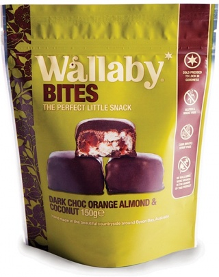 Wallaby Bites Dark Choc Orange Almond & Coconut  150g