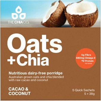 The Chia Co Oats + Chia Cacao & Coconut 5x38g
