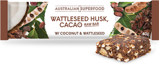 The Australian Superfood Co Wattleseed Husk, Cacao Raw Bar  12x40g
