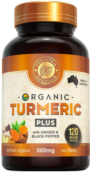 Therapeia Australia OrganicTurmeric Plus with Ginger & Black Pepper 660mg 120caps