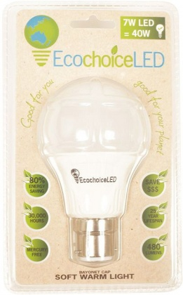 EcochoiceLED 7W Bayonet Cap Globe Soft Warm Light