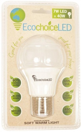 EcochoiceLED 7W Edison Screw Globe Soft Warm Light