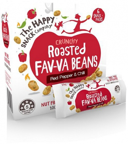 The Happy Snack Company Roasted Broadbeans Red Pepper & Chilli 6x25g Box