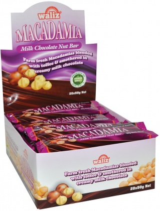Waliz Macadamia Milk Chocolate Nut Bar  20x50g