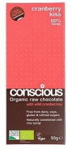 Conscious Organic Raw Chocolate Rice Syrup Cranberry Kiss 50gm