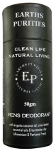 Earths Purities Mens Natural Deodorant Stick 50g