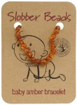Slobber Beads Baltic Amber Baby Teething Bracelet Cognac Round